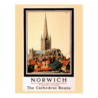 Norwich Vintage Travel Poster Restored Postcard