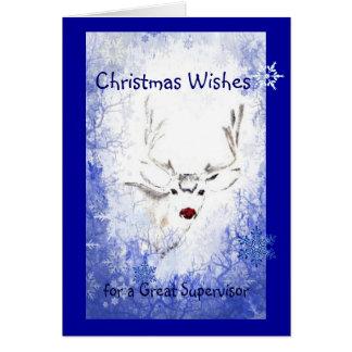 Nose Humor Reindeer, Snowflakes Supervisor Greeting Card