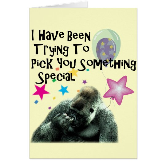 nose picking funny gorilla birthday card