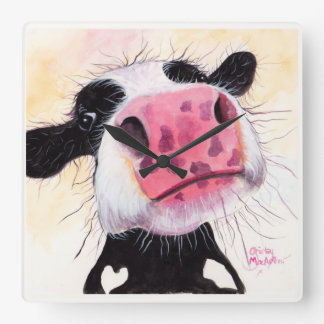 Nosey Cow ' Betty Blueberry ' by Shirley MacArthur Wallclocks