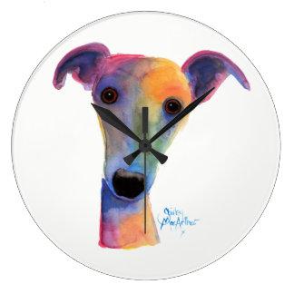 Nosey Dog ' Pansy ' by Shirley MacArthur Wallclock
