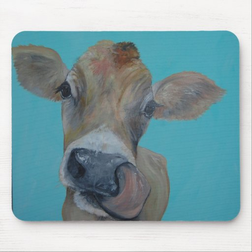 Nosey jersey cow mouse pad