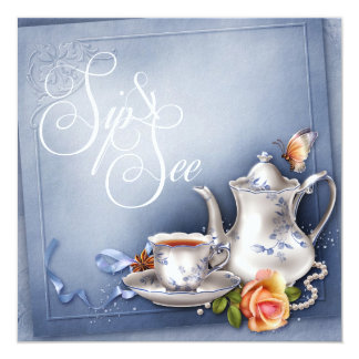 Nostalgic Blue Tea Time Sip and See Baby Shower Card