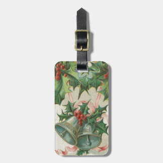 Nostalgic Christmas Bells and Holly Luggage Tag