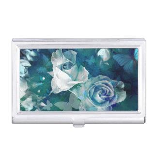 Nostalgic dusty blue rosebuds and butterflies business card holder