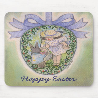 Nostalgic Easter Egg with Rabbit and Child Mousepad