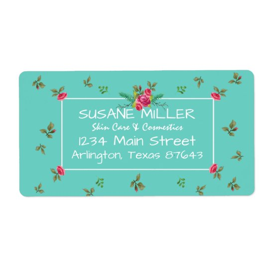 Nostalgic English ROSES Watercolor Pattern Busines Shipping Label