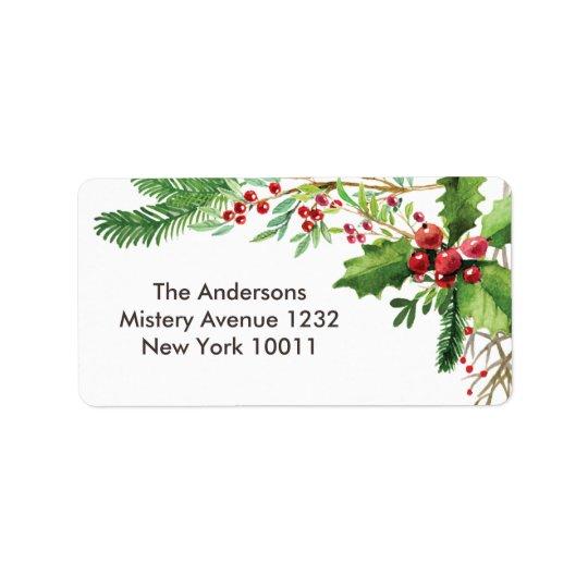 Nostalgic Merry Berry Christmas template Address Label