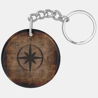 Nostalgic Old Compass Rose Design Double-Sided Round Acrylic Key Ring