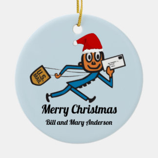 Nostalgic Postal Add Your Text Christmas Ornament