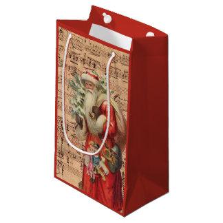 Nostalgic Santa Toys and tree With Sheet Music Small Gift Bag