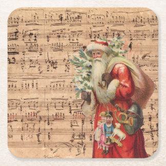 Nostalgic Santa Toys and tree With Sheet Music Square Paper Coaster