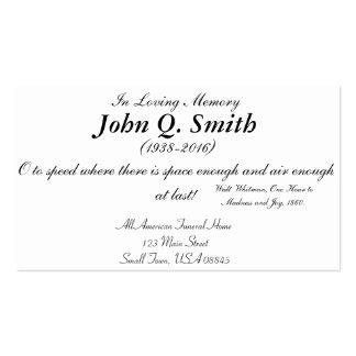 Nostalgic Truck Driver Funeral Memorial Card Pack Of Standard Business Cards
