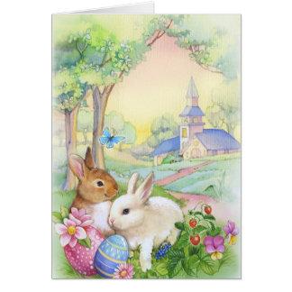 Nostalgic, vintage Easter bunnies Greeting Card