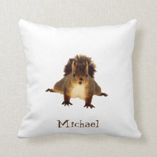 Nosy red squirrel in snow add a name cushion