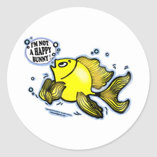 Not a Happy Bunny funny cute fish cartoon Classic Round Sticker