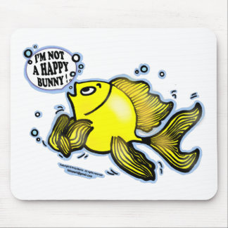 Not a Happy Bunny funny cute fish cartoon Mouse Mat