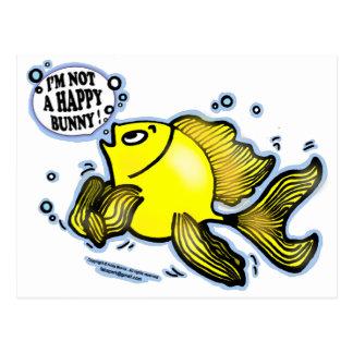 Not a Happy Bunny funny cute fish cartoon Postcard