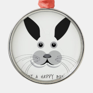 Not a Happy Bunny! Silver-Colored Round Decoration