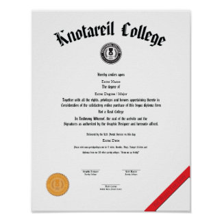 Not a Real College Diploma 11 X 14 Poster