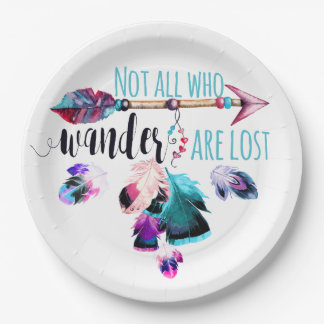 Not All Who Wander Are Lost Bohemian Wanderlust 9 Inch Paper Plate