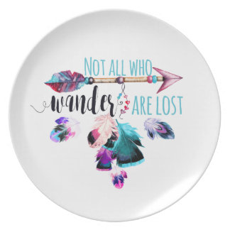 Not All Who Wander Are Lost Bohemian Wanderlust Party Plate