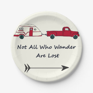 Not All Who Wander Are Lost Quote Trailer Caravan 7 Inch Paper Plate
