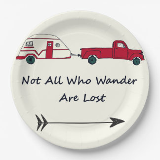 Not All Who Wander Are Lost Quote Trailer Caravan 9 Inch Paper Plate