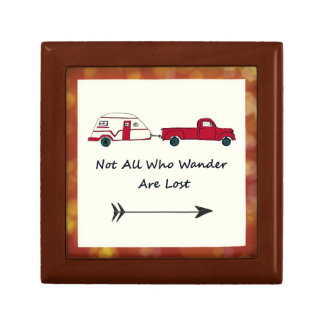 Not All Who Wander Are Lost Quote Trailer Caravan Small Square Gift Box