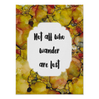 Not All Who Wander are Lost, Watercolor, Quote Poster