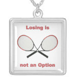 Not an Option Tennis Square Pendant Necklace