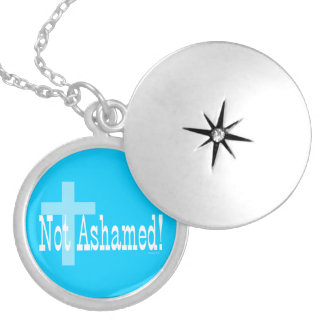 Not Ashamed! Romans 1:16 (with Cross) Round Locket Necklace