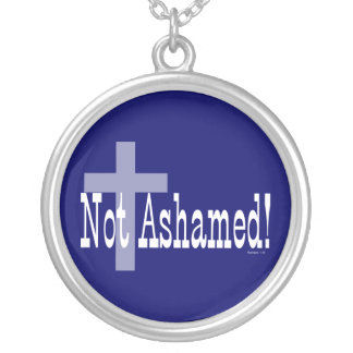Not Ashamed! Romans 1:16 (with Cross) Round Pendant Necklace