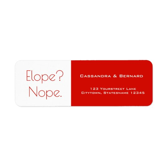 Not Eloping Wedding | Return Address Label