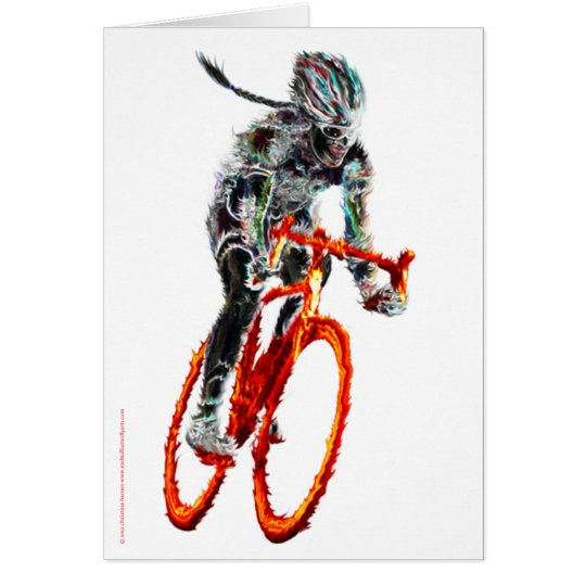 Not Frilly.  Female Cyclist & Flames Card