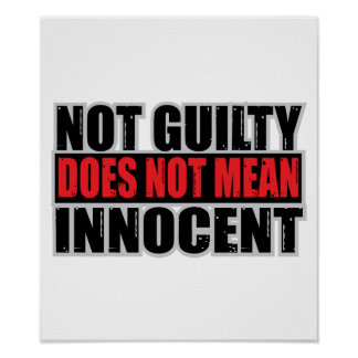 Not Guilty Does Not Mean Innocent Poster