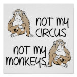 Not My Circus Or Monkeys Funny Poster Sign