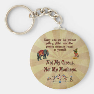 Not My Monkeys, Not My Circus Basic Round Button Key Ring