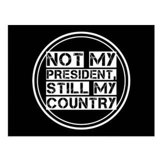 Not My President Black White Stencil Text Round Postcard