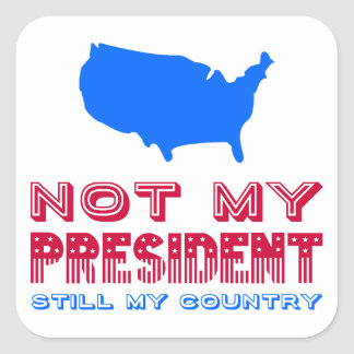 Not My President Still My Country America Red Blue Square Sticker