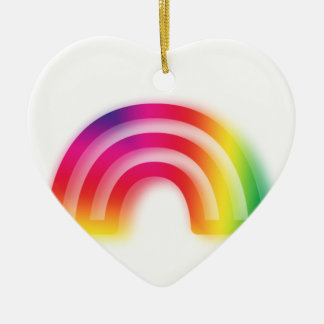 Not one or two, but three rainbows! ceramic heart decoration