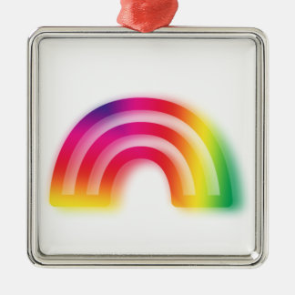 Not one or two, but three rainbows! Silver-Colored square decoration