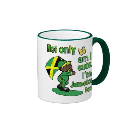 Not only am I cute I'm Jamaican too! Ringer Coffee Mug