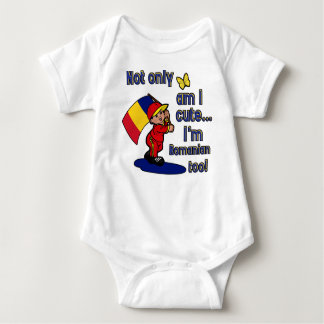 Not only am I cute I'm Romanian too! Baby Bodysuit