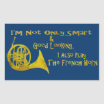 Not Only Smart French Horn Rectangular Stickers