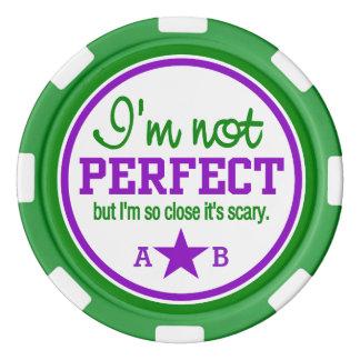 Not Perfect custom monogram poker chips