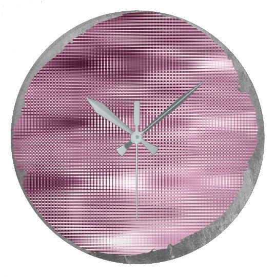 Not Perfect Minimalism Metal Silver Grey Burgundy Large Clock