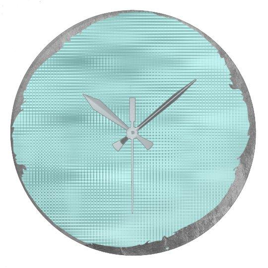 Not Perfect Minimalism Metal Silver Grey Tiffany Large Clock