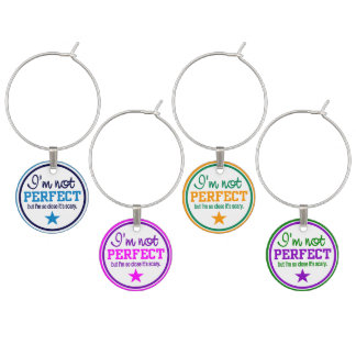 Not Perfect wine charms