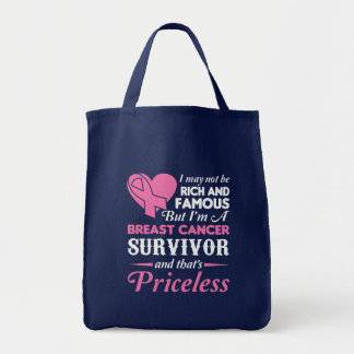 Not Rich Famous I Breast Cancer Survivor Tote Bag